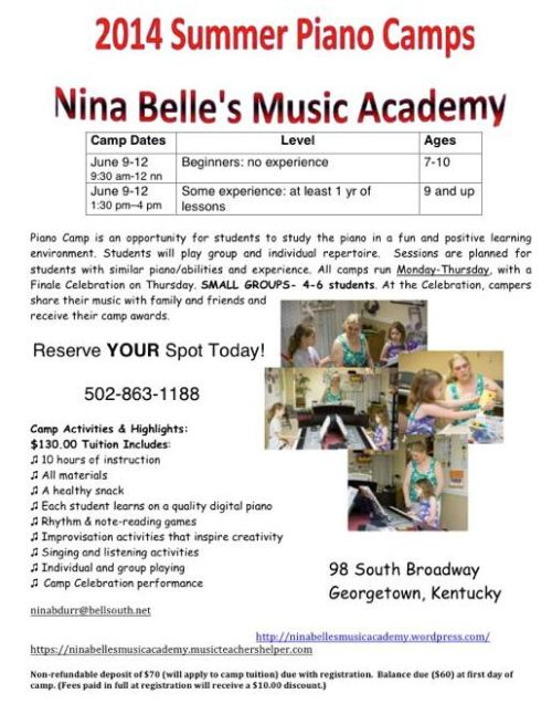 2014 Summer Piano Camps